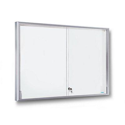 office akktiv Schaukasten, Alu-Rahmen, Schiebetüren - 18 x DIN A4, BxHxT 1330 x 970 x 50 mm