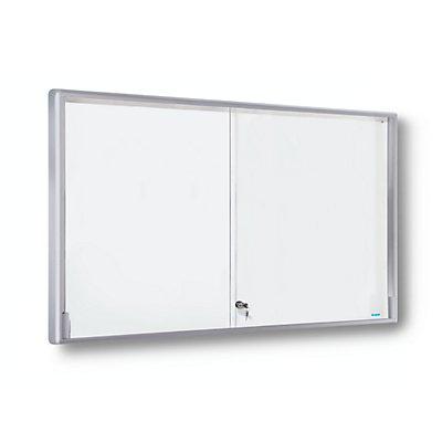 OFFICE AKKTIV Vitrine d'affichage avec cadre alu et portes coulissantes - 21 x format A4, l x h x p 1540 x 970 x 50 mm