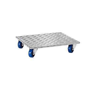 Alu-Möbelroller, mit Vollelastik-Rollen, Tragfähigkeit 250 kg, Rollenlager
