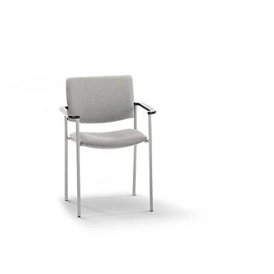 Polster-Besucherstuhl mit Kunststoffgleitern - Gestell alufarben