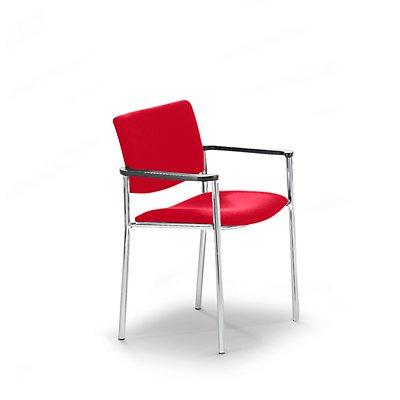 Polster-Besucherstuhl mit Kunststoffgleitern - Gestell verchromt