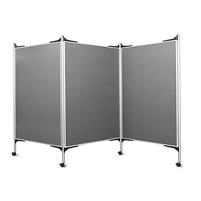 magnetoplan® Kit tableau de présentation mobile - 3 tableaux pour épingles, 4 montants - largeur 3 x 1200 mm