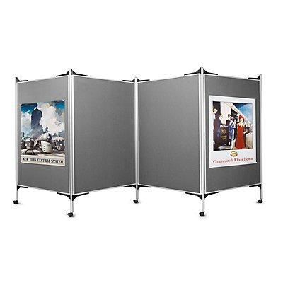 magnetoplan® Kit tableau de présentation mobile - 4 tableaux pour épingles, 5 montants - largeur 4 x 1200 mm