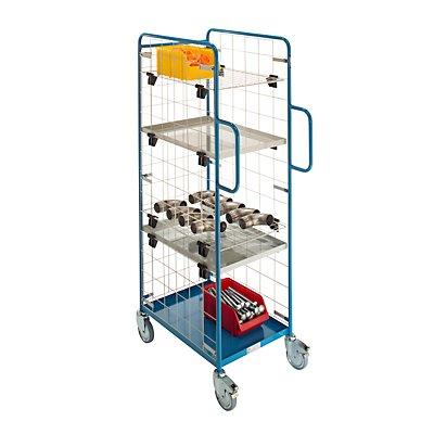 Industrie-Servicewagen, mit Gitterwänden, LxBxH 845 x 500 x 1715 mm, fahrbar