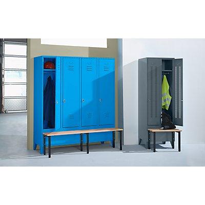 Wolf Kleiderspind mit vorgebauter Bank - Lochblech-Türen, Abteilbreite 400 mm, 2 Abteile