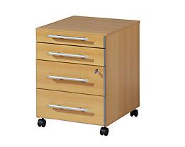 CLEARLINE Rollcontainer - 1 Utensilienschub, 3 Schubladen - Buche-Dekor