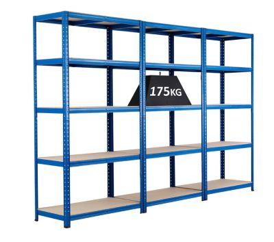 MEGADEAL: Drei Steckregale von BiGDUG - Tragkraft bis zu 175 kg - Steckregal, blau, 5 Spanplatten