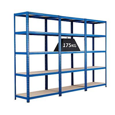 BiGDUG MEGADEAL: Drei Steckregale von BiGDUG - Tragkraft bis zu 175 kg - Steckregal, blau, 5 Spanplatten - HxBxT 1780 x 900 x 450 mm