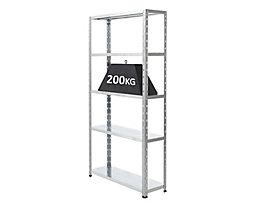 Grundregal komplett verzinkt von BiGDUG - Tragfähigkeit pro Steckregal 200 kg