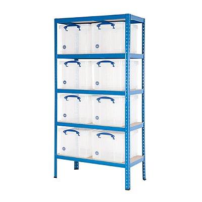 BiGDUG Steckregal - Traglast bis 200 kg, inklusive 8 Boxen - Grundregal, blau