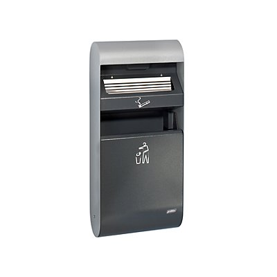 Design-Wandascher für innen und außen, mit Inneneimer, Tiefe 140 mm, Volumen 3 l, HxB 670 x 300 mm