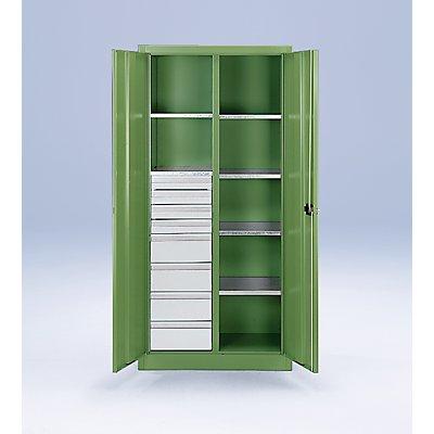 CP Materialschrank aus Stahlblech - 6 Fachböden, 8 Schubladen