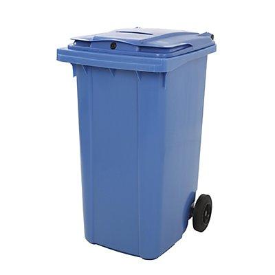 Kunststoff-Mülltonne, mit Papierschlitz, abschließbar, blau
