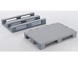 Palette polyvalente en plastique avec renforts en acier - L x l x h 1200 x 1000 x 150 mm