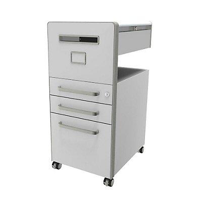 Bisley Meuble de rangement mobile Bite™ avec 1 tableau blanc, ouvrable à gauche, avec 2 tiroirs universels et 1 classeur pour dossiers suspendus, rose | BTBACPLWIIF601