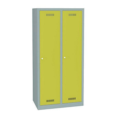 BISLEY MonoBloc™ Garderobenschrank, Abteilbreite 348 mm, einstöckig - 2 Abteile, Breite 810 mm, ohne Schwarz/Weiß-Trennung