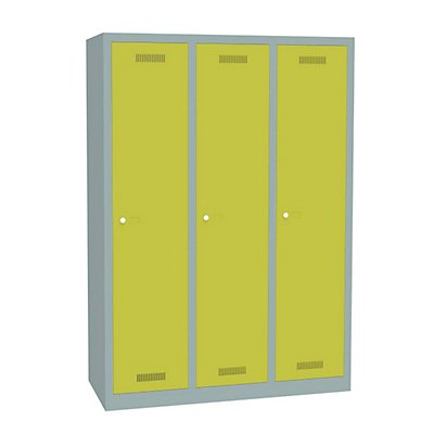 Bisley MonoBloc™ Garderobenschrank - 3 Abteile Breite 400 mm, je 1 Fach mit S/W-Trennung