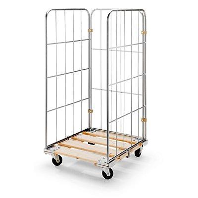 RIMO Rollbehälter mit Gitterwänden - Holz-Rollplatte, 3-seitig