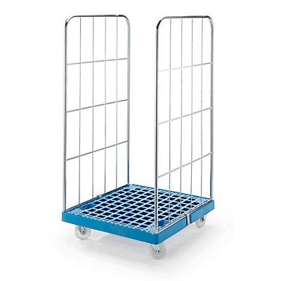 RIMO Rollbehälter mit Gitterwänden - Kunststoff-Rollplatte, 2-seitig