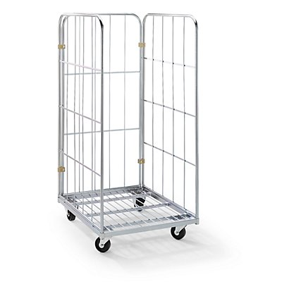 RIMO Rollbehälter mit Gitterwänden - Stahl-Rollplatte, 3-seitig
