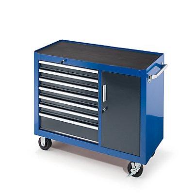 Werkstattwagen, HxBxT 923 x 1060 x 480 mm, 7 Schubladen, 1 Flügeltür, blau