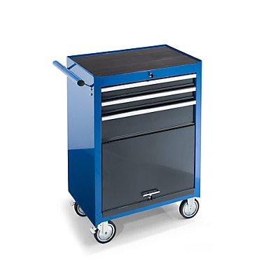 Werkstattwagen, HxBxT 995 x 680 x 458 mm, 3 Schubladen, 1 Werkzeugfach, blau