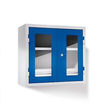 QUIPO Werkstatt-Hängeschrank - HxBxT 600 x 650 x 320 mm, Sichtfenstertüren, mit 2 Fachböden