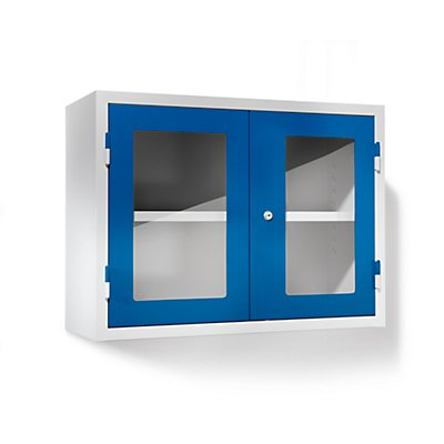 QUIPO Werkstatt-Hängeschrank - HxBxT 600 x 800 x 320 mm, Sichtfenstertüren