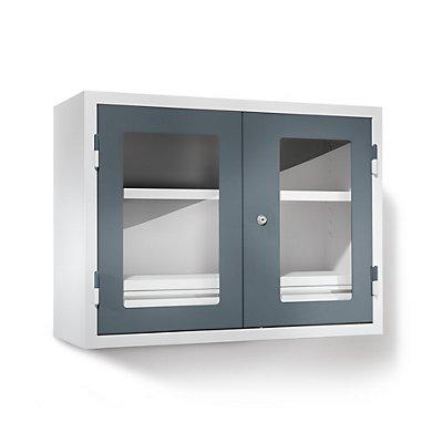 QUIPO Werkstatt-Hängeschrank - HxBxT 600 x 800 x 320 mm, Sichtfenstertüren, mit 2 Fachböden