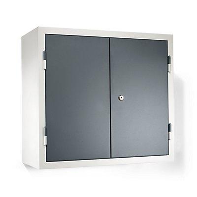 QUIPO Werkstatt-Hängeschrank - HxBxT 600 x 650 x 320 mm, Vollblechtüren, mit 2 Fachböden