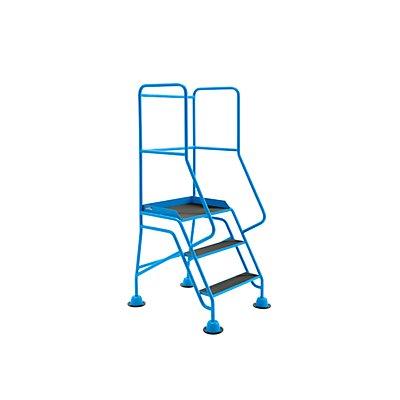 EUROKRAFT Mobile Stehleiter mit Plattform - 3 Stufen, mit Geländer