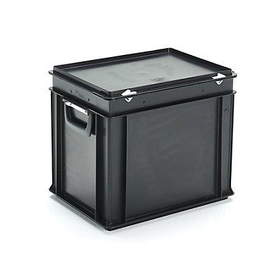 ESD-Kunststoffkoffer - Inhalt 30 l, Außenmaß LxBxH 400 x 300 x 338 mm