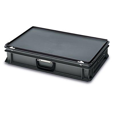 utz ESD-Kunststoffkoffer - Inhalt 20 l, Außenmaß LxBxH 600 x 400 x 135 mm