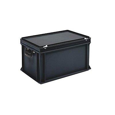 ESD-Kunststoffkoffer - Inhalt 60 l, Außenmaß LxBxH 600 x 400 x 340 mm
