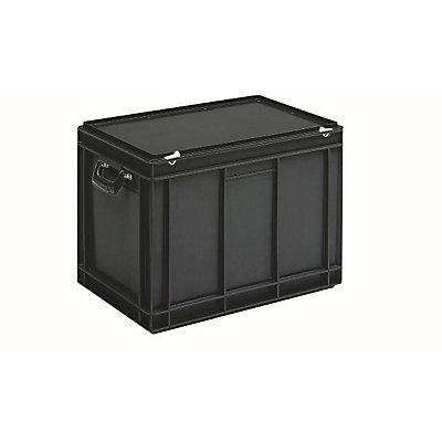 ESD-Kunststoffkoffer - Inhalt 90 l, Außenmaß LxBxH 600 x 400 x 440 mm