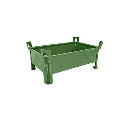 Heson Stapelbehälter aus Stahlblech, niedrige Bauform, Wände geschlossen - BxL 500 x 800 mm, Traglast 500 kg