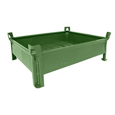Heson Stapelbehälter aus Stahlblech, niedrige Bauform, Wände geschlossen - BxL 800 x 1000 mm, Traglast 500 kg