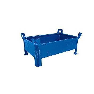 Heson Stapelbehälter aus Stahlblech, niedrige Bauform, Wände geschlossen - BxL 500 x 800 mm, Füllhöhe 200 mm