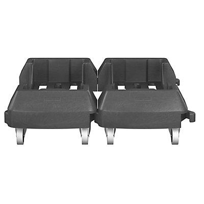 Fahrwagen für Wertstoffbehälter, Kunststoff, schwarz, verkettbar, LxBxH 606 x 374 x 212 mm