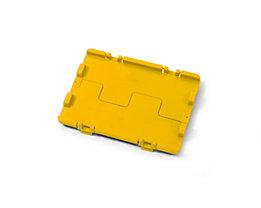 Couvercle rabattable avec charnières - lot de 4, L x l 300 x 200 mm - jaune