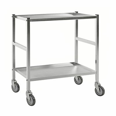 Tischwagen mit 2 B?den, 4 Lenkrollen, wei?