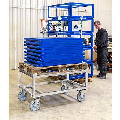 Paletten-Fahrgestell, verzinkt, H?he 700 mm, mit Feststeller