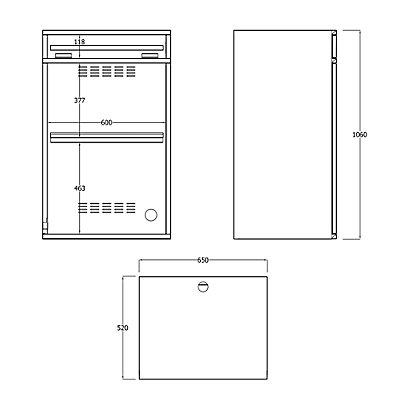 EUROKRAFT Computer-Arbeitsstation, Stahlblech - HxB 1060 x 650 mm, ohne Monitorgehäuse
