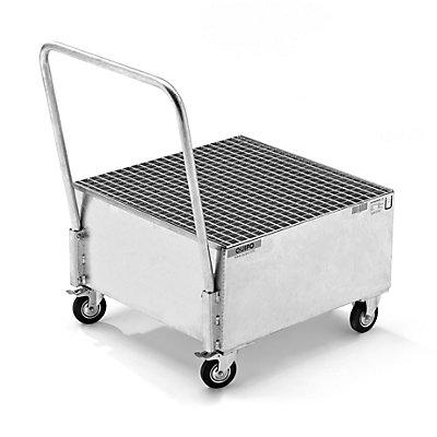 QUIPO Fahrbare Auffangwanne aus Stahlblech, LxB 800 x 800 mm, 1 x 200-l-Fass stehend