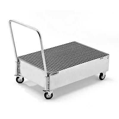 QUIPO Fahrbare Auffangwanne aus Stahlblech, LxB 1200 x 800 mm, 2 x 200-l-Fass stehend