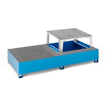 QUIPO Stahl-Auffangwanne für Tankcontainer IBC/KTC, für 2 x 1000-l-Container / 4 x 200-l-Fass stehend