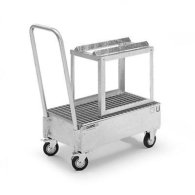 QUIPO Fahrbare Auffangwanne aus Stahlblech, LxB 800 x 500 mm, 1 x 60-l-Fass liegend