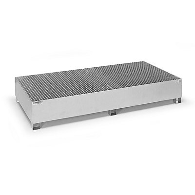 QUIPO Stahl-Auffangwanne für Tankcontainer IBC/KTC, für 2 x 1000-l-Container / 8 x 200-l-Fass stehend