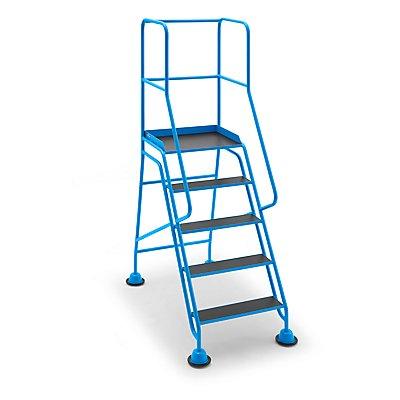 EUROKRAFT Mobile Stehleiter mit Plattform - 5 Stufen, mit Geländer