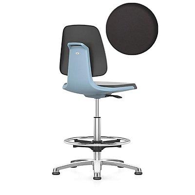 bimos Arbeitsdrehstuhl, mit Bodengleitern und Fußring Sitz mit Stoffbezug, anthrazit